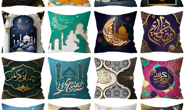 Ramadan Festival Polyester Decorative Cushion Cover Muslim Iftar Pattern Print Fluffy Sofa Living Room Throw Pillowcase