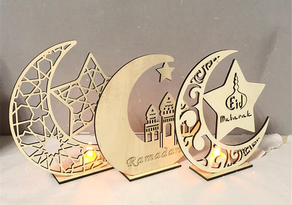 Ramadan Festival Craft Ornaments Muslim Islam Eid Castle Moon Wooden Decorative Suppliers Festive Home Decoration Accessories