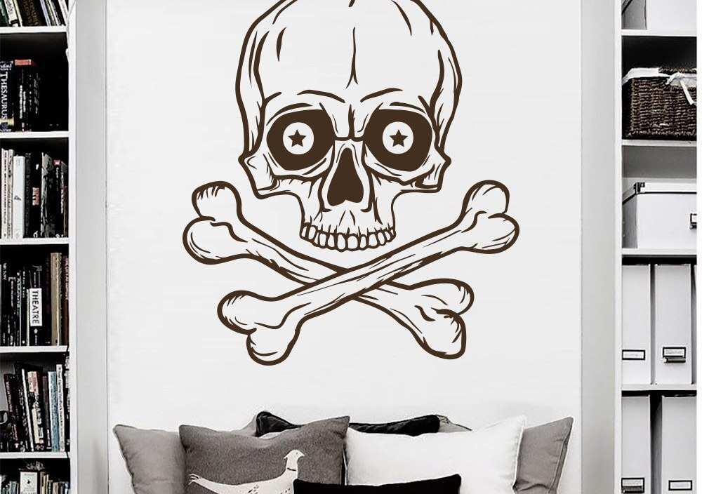 Skeleton Wall Decal Skull Horror Pirate Bones Stickers Living Room Decor Vinyl Vintage Art Mural Home Design Boy Room Decal