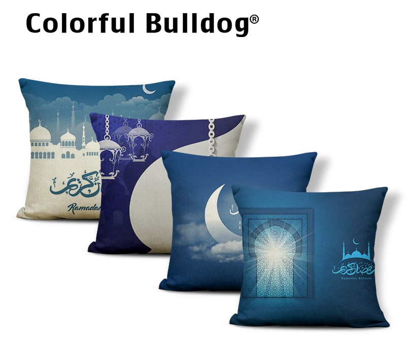 Ramadan Luxury Square Pillow Covers 45x45cm Polyester Blue Star Castle Moon Lantern Decoration Silver Starry Sky Cushion Covers