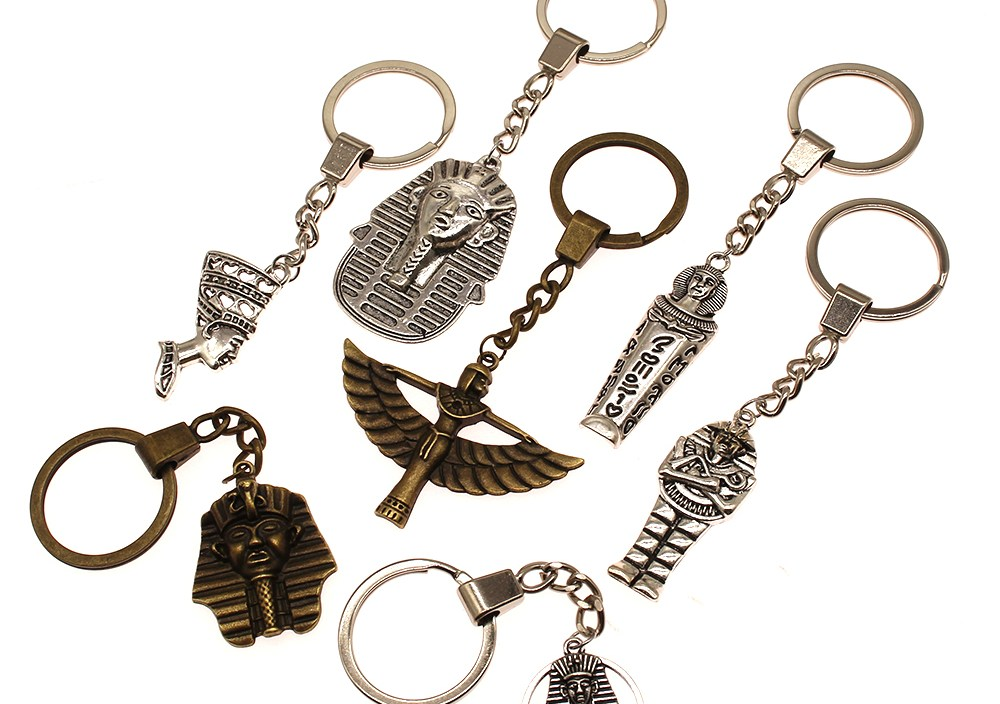 Ancient Egypt Decoration Keyring Double Sided Egyptian Pharaoh DIY Handmade Gifts Key Chain