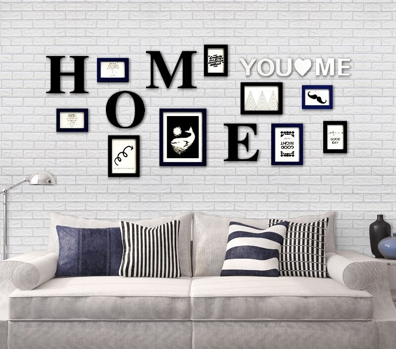 Home Design Wall Sticker Photo Picture Frames,Room Decor Rectangle Frame for Family Picture,9pcs Picture Album Photo Frames Set