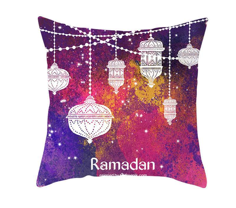 Ramadan Muslim Kareem Soft Gold Moon Printed Throw Pillow Cover Lantern Chair Eid Mubarak Bedroom Pillw Cases