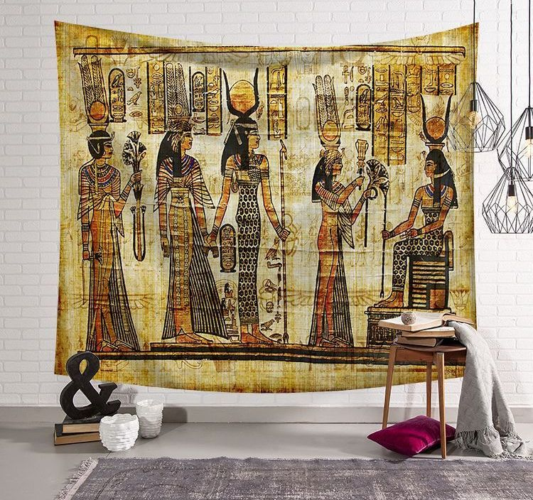 Ancient Egypt Mandala Tapestry Gold Cleopatra Hanging Wall Art Tapestry Home Decorative Throw Sheet Coverlet Beach Yoga Mat