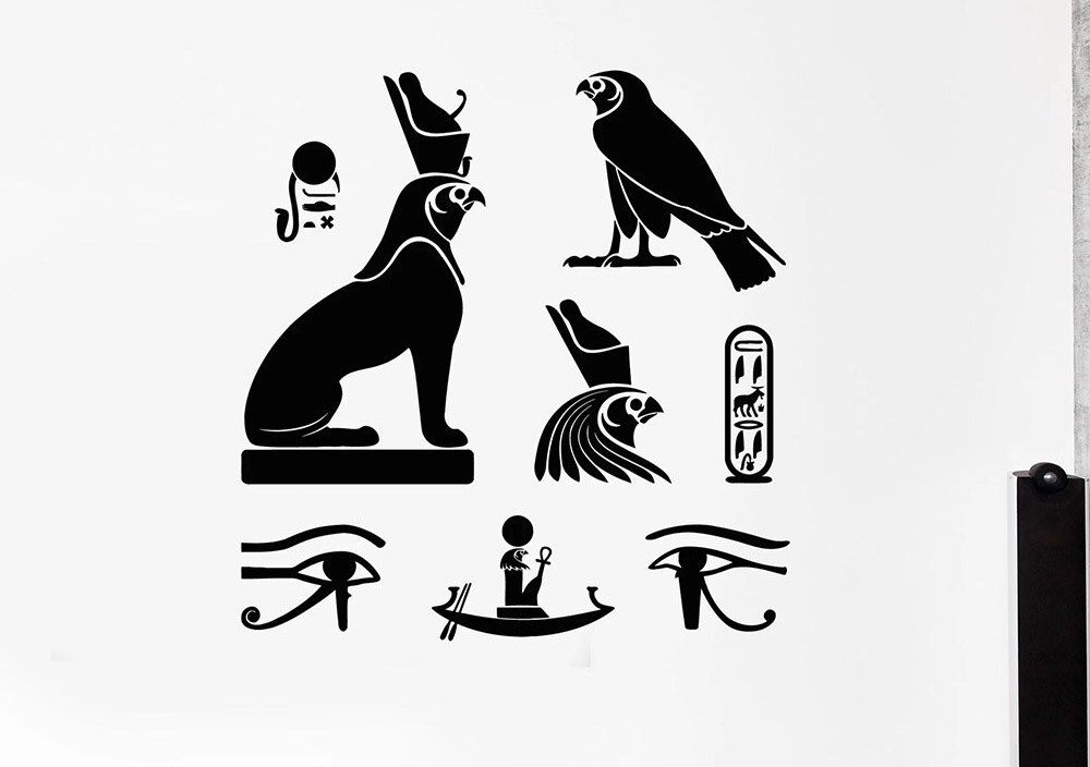 Ancient Egypt Hieroglyphics Symbol Wall Stickers For Office Egyptian Birds Vinyl Wall Decal Decor LIving Room Self-adhesive W474
