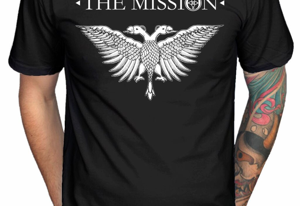 **SALE** Official The Mission Solid Eagle 2 New Logo T-Shirt Rock Band Merch Short Sleeve Cheap Sale Cotton T Shirt