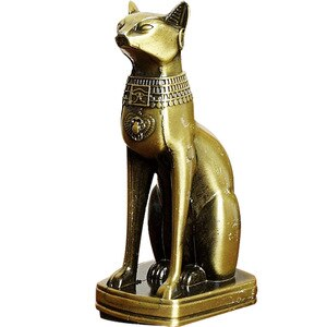Ancient Egypt Bastet Statue Metal Crafts Retro Figure Sekhmet Cats God Sculpture Home Desktop Decoration Souvenir R2929