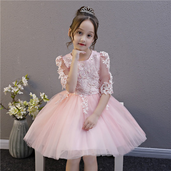 Fancy Sweet Little Girl Flower Dresses Half Sleeves Toddler Baby Princess Birthday Pageant Party Ball Gowns Children Costumes