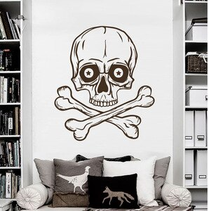 Skeleton Wall Decal Skull Horror Pirate Bones Stickers Living Room Decor Vinyl Vintage Art Mural Home Design Boy Room Decal M-47