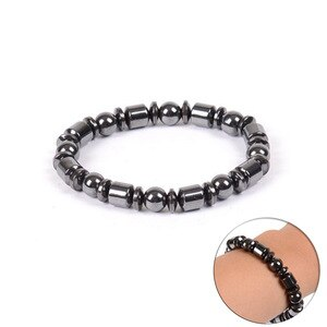 Weight Loss Round Black Stone Magnetic Therapy Bracelet Health Care Hematite Stretch Charming Bracelets For Men Women Gift