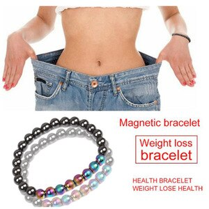 Weight Loss Magnetic Therapy Bracelet For Men Women Black Hematite Stone Beads Stretch Health Care Bracelet Jewelry Gift