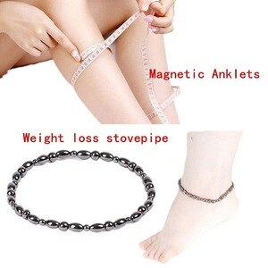 Weight Loss Round Black Nature stone Magnetic Therapy Health Bracelet Trendy Hematite Metal Stretch Bracelet For Men Women