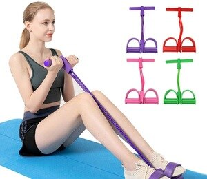 Weight Loss fitness Equipment 4 tube Tension Waist Hip Trainer Sports Foot Expander Chest Pull Latex Draw Rope Gymnastics Rope