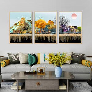 Golden forest  canvas art painting Wall pictures for home design unframed  home decor wall art gold poster and prints