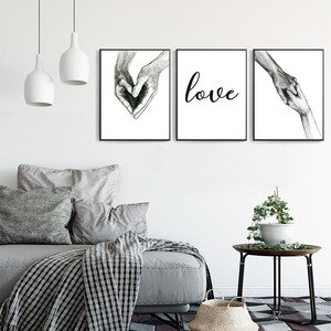 Hand Love Nordic Poster Wall Art Canvas Pictures Modern Home Decoration Creative Loving Painting For Home Design Wedding Gifts