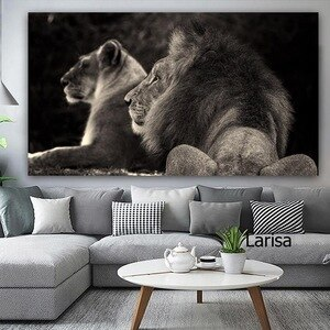 Big Picture for Home Decoration Animal Modern Poster Black and White Canvs Picture for Home Design Wall Art Frameless