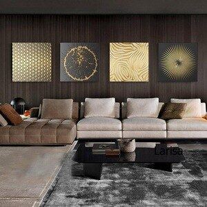 Modern Abstract Painting Golden Luxurious Home Decoration Canvas Wall Art Pictures for Home Design Frameless