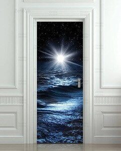 Door Stickers Sea Night Water Mural Film Wall Art Waterproof Pvc Self-Adhesive Home Decoration Stickers Door Decor Home Design