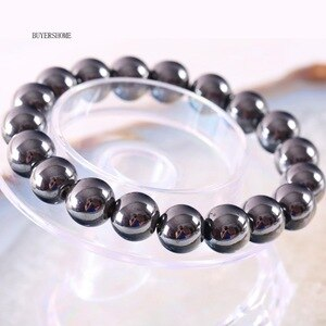 Weight Loss Black 12MM Round Bead Magnetic Therapy Bangle Health Care Magnetic Hematite Stretch Bracelet For Men Women H391