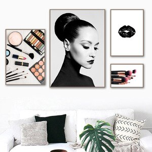 Modern Fashion Female Poster Picture for Home Design Black White Canvas Painting Posters and Prints Room Decor No Frame