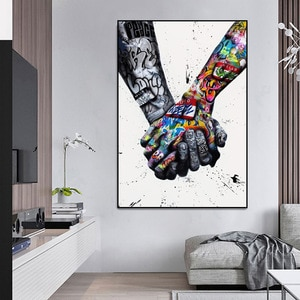 LOVE Graffiti Art Hand Posters and Prints on Canvas Painting Fashion Street Wall Art Picture for Living Room Home Design Decor