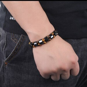 Weight Loss Double layer Hematite Tiger's Eye Bracelets for men/women Magnetic Therapy Health Stretch Bracelets charm jewelry