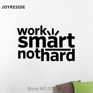 JOYRESIDE Office Quote Wall Work Smart Not Hard Decals Vinyl Sticker Classroom Living Room Interior Home Designs Art Mural A1475
