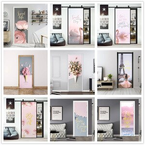 Pink Home Design Door Decoration Sticker Self-adhesive Waterproof Mural Furniture Renew Wallpaper Sweet Girl Style Decal poster