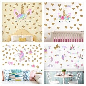 Smile Unicorn Wall Sticker for Kids Room Nursery Vinyl DIY Self Adhesive Wallpaper Decoration Paper Mural Art Decals Home Design