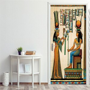 Removable Door Sticker Egyptian Pharaoh Ascended The Throne Stickers on The Door Vinyl Selfadhesive Home Design Decorative Decal