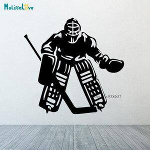 Sport ice hockey goalkeeper Wall Stickers Boy Room Mural Decor Wall Art Vinyl Decal Sticker Home Design Wallpaper Mural CL318