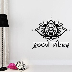 Good Vibes Wall Sticker Quotes Lotus Flower Vinyl Wall Decal Yoga Studio Boho Home Design Decoration Removable Mural Art S823