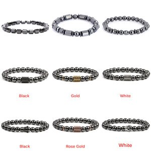 Weight Loss Bracelet Hematite Round Beads Stretch Bracelet For Men and Women Anti-Fatigue Magnetic Therapy  Bracelets