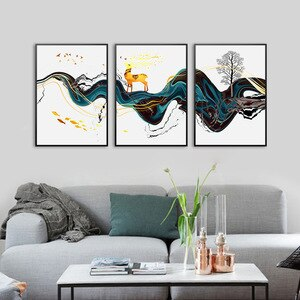 Chinese Landscape Canvas Painting Abstract Golden Deer  Unframed Blue Ribbon Wall Picture For Home Design  Boho Decor