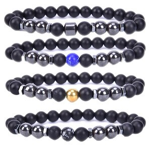 Weight Loss Bracelet Round Magnetic Stone Therapy Slimming Hand Chain Hematite Stretch Magnet Bracelet Jewelry