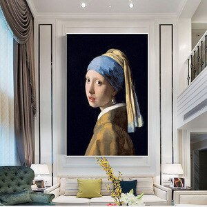 Canvas Painting Girl with Pearl Earrings Oil Painting Wall Art Posters and Prints European Style Picture Living Room Home Design