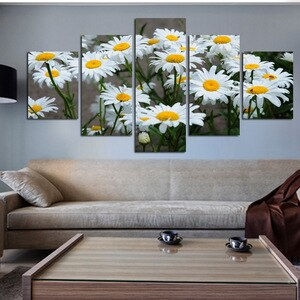 Canvas Painting Poster Room Decor Set 5 Panel Daisy Flower Wall Art Pictures for Home Design Interior Decoration Frameless