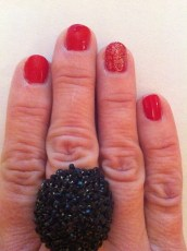 """feature ring finger nail with overcoat of Butter """"Rosie Lee"""""""