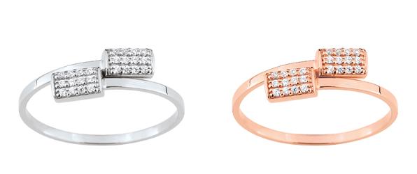 Collection Promesse by Lore. Bague en or rose, blanc ou jaune (9 carats) et oxydes de zirconium. Prix : 189 €