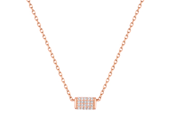 Collection Promesse by Lore. Collier chaîne en or rose 9 carats et oxydes de zirconium. Prix : 199 €