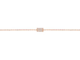 Collection Promesse by Lore. Bracelet chaîne en or rose 9 carats et oxydes de zirconium. Prix : 145 €