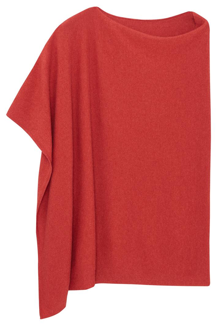 PONCHO GALLERY, CARRÉ CLASSIQUE, un poncho 100 % cachemire brique 2 fils. 220 € (taille unique).