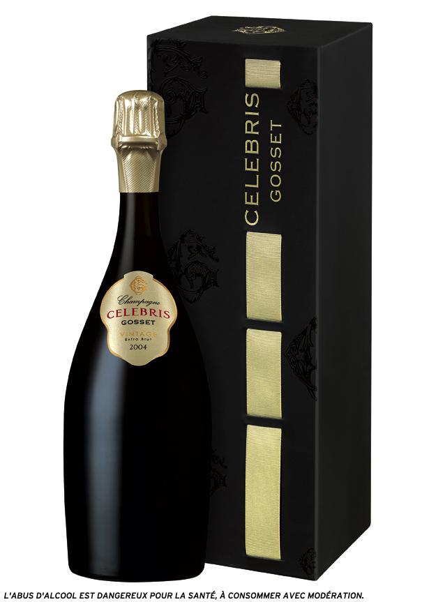 Le coffret CELEBRIS Vintage 2004 extra-brut (75 cl) est au prix public conseillé de 130,50 €