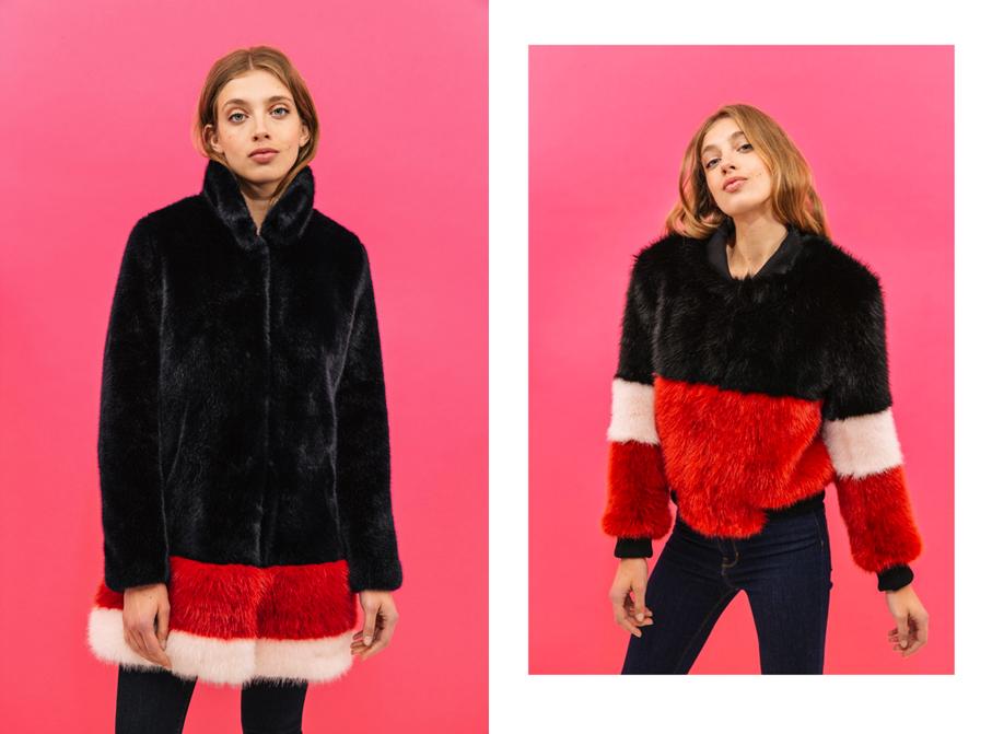 VICTORIA : elle enchante les cœurs d'un Paris magique et lumineux… Veste longue en fausse fourrure - Sweet Midnight Blue Coat - 545 €