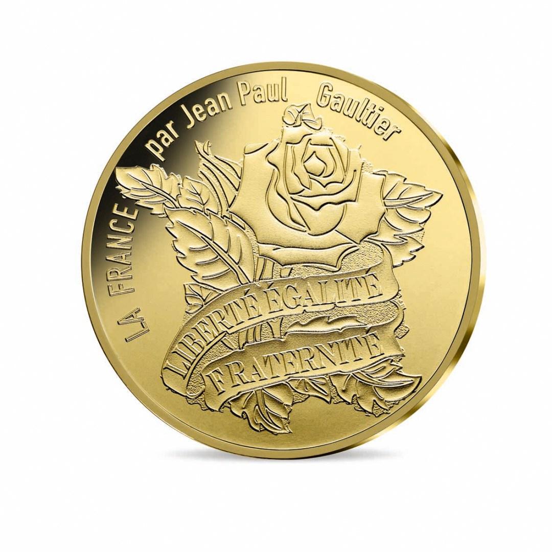 200 € en or 999e, 3 g. Série limitée à 25000 exemplaires. Une France tatouée, Liberté, égalité, Fraternité…