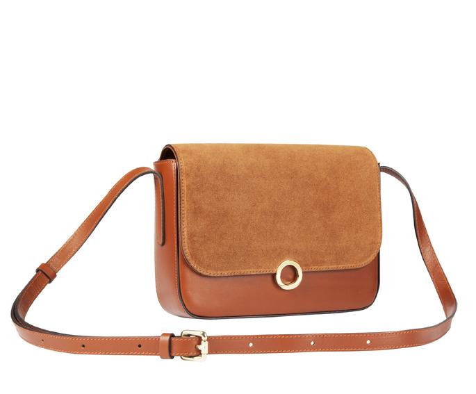 Léo et Violette Petit sac porté épaule, en daim et cuir. 6 couleurs. 190 €