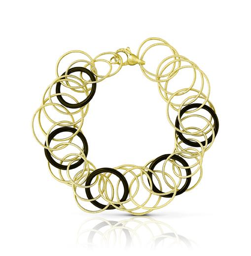 Buccellati, collection Hawaii, bracelet en or jaune et onyx.
