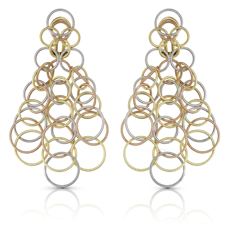 Buccellati, collection Hawaii, pendants d'oreille en or blanc, jaune et rose.
