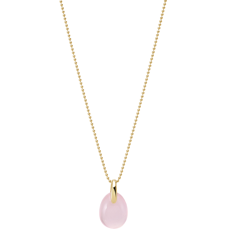 Or du Monde, collection PARADIS. Collier en or jaune et quartz rose.