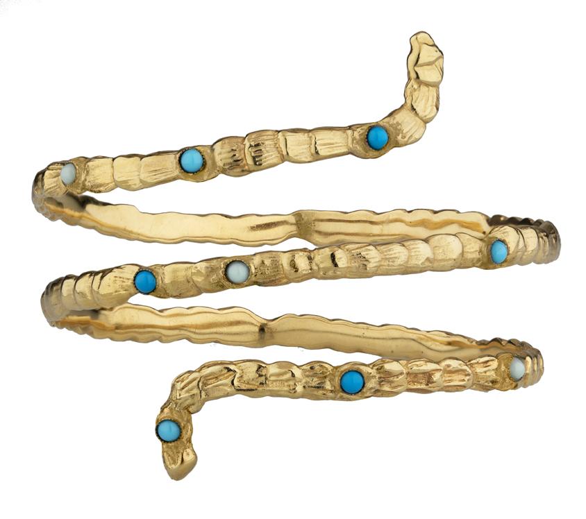 Bracelet de bras Liane en metal doré à l'or fin et turquoise 140€